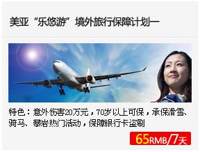 """美亚""""乐悠游""""境外旅行保障 计划一"""